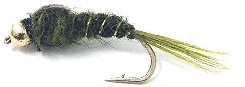 - Feeder Creek Bead Head Nymph - Dark Olive Fly Fishing Trout Flies Assortment - One Dozen Wet Flies - 3 Size Assortment 12,14,16 (4 of Each Size)