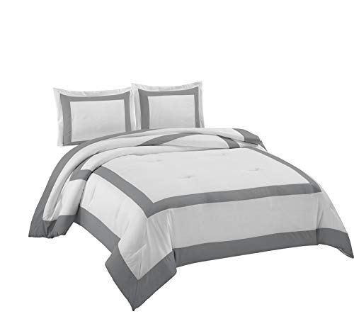 Chezmoi Collection Carlton 3-Piece Hotel Style Square Framed Bedding Comforter Set (King, White/Gray)