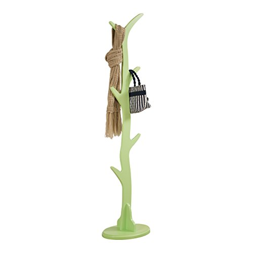 Pilaster Designs - Contemporary Tree Style Wood Coat and Hat Rack Stand, Mint Green by Pilaster Designs