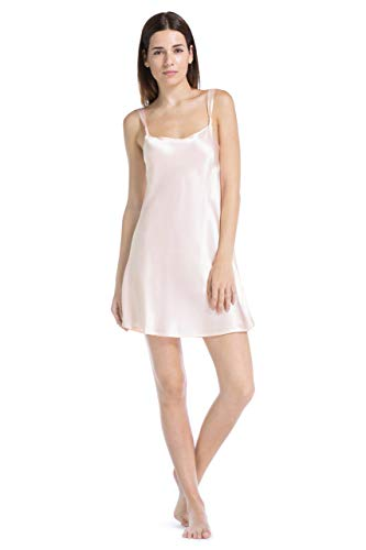 - Fishers Finery Women's 100% Pure Mulberry Silk Chemise; Nightgown (Pink, S)