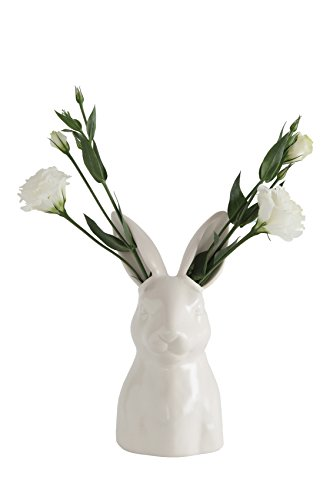 "Creative Co-op Ceramic Bunny Rabbit Flower Vase, White - Made with ceramic Opening measurement is . 75"" round Ears are 1. 5""L x 1. 25""W x 3""H - vases, kitchen-dining-room-decor, kitchen-dining-room - 31avn375JQL -"