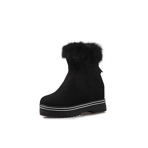 ChyJoey Women's Warm Fur Winter Snow Boots Flat Low Heel Platform Round Toe Zip Casual Short Ankle Bootie Black