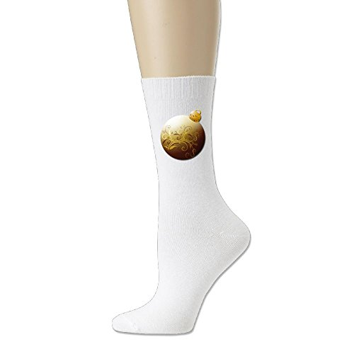 Men's Gold Glass Ornament Cotton Comfort Crew Christmas Gift Socks (Ornament Gold Png Christmas)