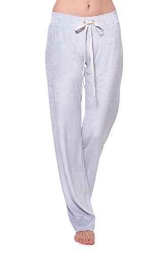Womens Velour Lounge Pant - TexereSilk Women's Velour Lounge Pants - Stylish Sweatpants For Her by Texere (Realeza, Silver Star, Medium) Athletic Tracksuits For Her TX-WB030-001-SVST-R-M
