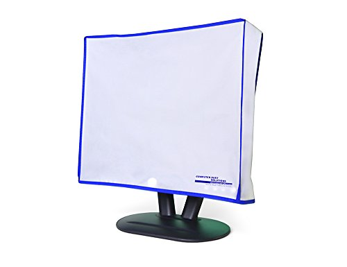 Computer Monitor dust Cover for Flat Panel LCD-Silky Smooth Anti-Static Vinyl with Blue Trim (24W x18H x3D)