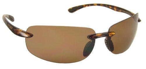 Glass Shiny Amber Tortoise (TOP DECK Intracoastal Polarized Sunglasses, Shiny Tortoise Grilamid Rimless Frame and Amber Lens)