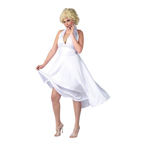 Deluxe Marilyn Costumes (DREAMOWL Womens Marilyn Monroe Plus Size Deluxe Classic Adult Costume Dress Wig)
