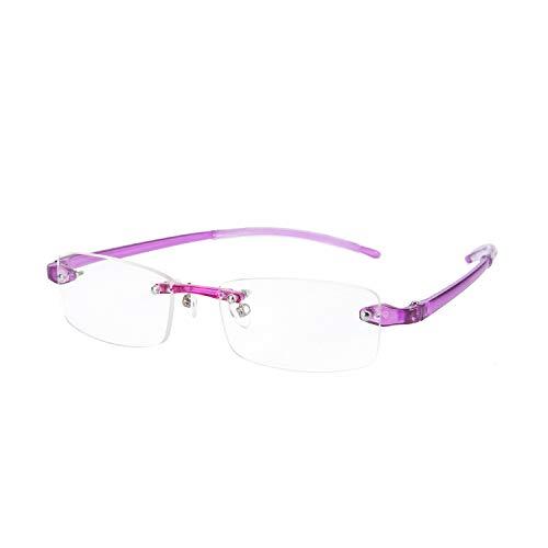 Rimless Light Reading Glasses Readers Spring Hinge for Men for Women 620(Purple 1.5 x)