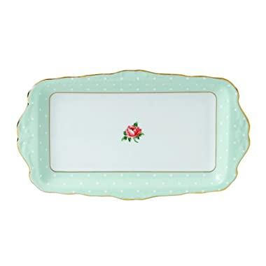 Royal Albert Polka Rose Formal Vintage Rectangular Serving Tray, White