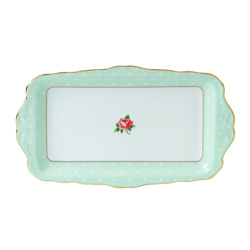 - Royal Albert Polka Rose Formal Vintage Rectangular Serving Tray, White