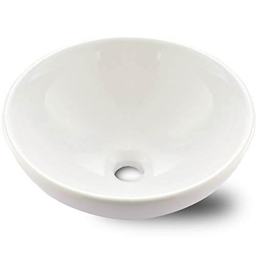 VAPSINT Round Bowl Porcelain Ceramic Bathroom Art Basin Vessel Sink,White Vessel Sinks For (Bowl Ceramic Sink)