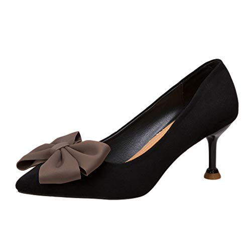 OrchidAmor Women's Sexy Bow Pumps Pointed Toe Falt Shallow Non-Slip Thick High Heels Shoes Black