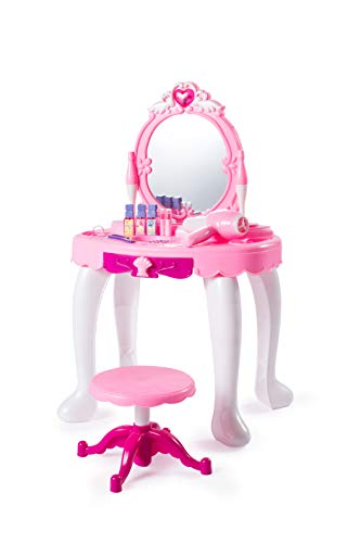 NBD Corp Kids Vanity Set with Mirror and Bench - Kids Makeup Table - Pretend Dress Up - Toys for 3 Year Old Girls and ()