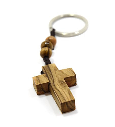 Cross Key Ring - MIZZE Made for Luck Authentic Olive Wood Cross Keychain with Three Rosary Beads for Faith Hope & Charity