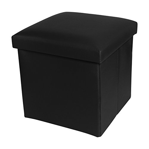 NISUNS OT01 Leather Folding Storage Ottoman Cube Footrest Seat, 12 X 12 X 12 Inches (Black) (Leather Cube Ottoman)