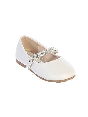 (Tip Top Kids Girls White Rhinestone Pearl Strap Leatherette Mary Jane Shoes 4 Baby )