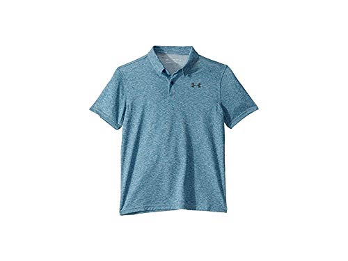 Under Armour Kids Boy's Threadborne/TBD Polo (Big Kids) Teal Vibe Light Heather/Teal Vibe Light Heather/Pitch Gray X-Large by Under Armour