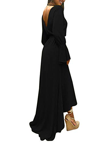 Nera Partito Donne Lunga Chellysun Vestito V Split Con Profondo Scollato Asimmetrico Vestito Scollo Manica Da Cintura w04x5qnSZ