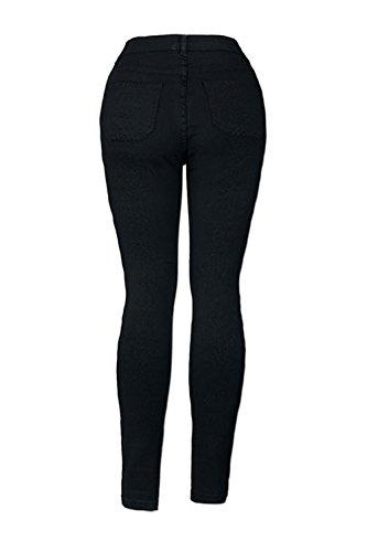 Donne Vita Alta Strappato Elastico Le Black Occasionale Lunga Buchi Jeans Sottile Sala dq4OY
