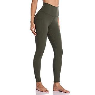 Colorfulkoala Women's High Waisted Yoga Pants 7/8 Length Leggings with Pockets(XS, Olive Green)