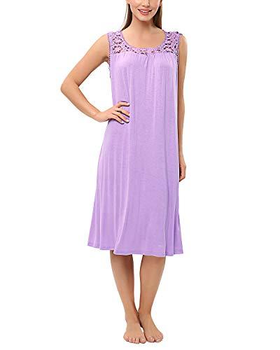 KENANCY Women's SleevelessSleep Shirts Crochet Trim Sleep Dress Sleepwear Casual -