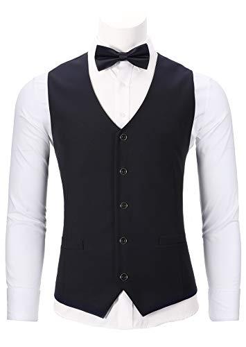 WANNEW Mens Tuxedo Vest Slim Fit Suit Vest with Bow Tie Sets