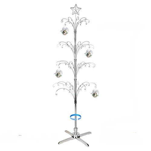 (HOHIYA Metal Ornament Christmas Display Tree Rotating Stand 90 Hooks 74inch(Silver))