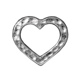 TierraCast Hammered Heart Charm, 14mm, Bright Rhodium Plated Pewter, 4-Pack 14 Mm Hammered Heart