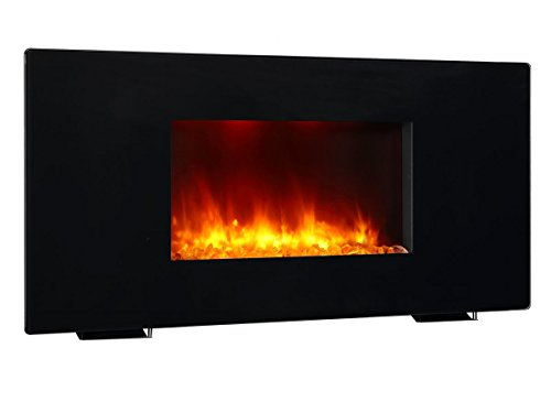 PuraFlame 36 Inches Galena, Portable or Wall Mounted, Flat Panel Electric Fireplace with Remote,1350W, Black