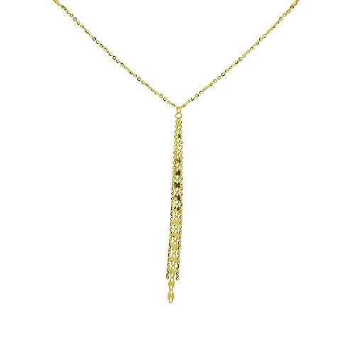 14K Yellow Gold Italian Chain Tassel Dainty Lariat Y-Necklace