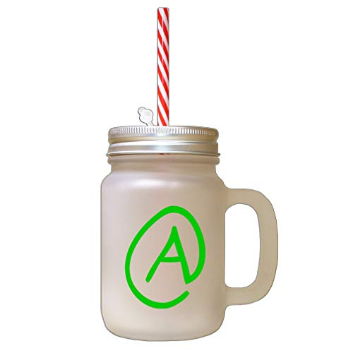 (Style In Print Green A Clipart Initial Monogram Letter A Frosted Glass Mason Jar with Straw)