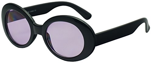 SunglassUP - Retro Bold Arms Color Tinted Oval Lens Novelty Sunglasses 50mm (Black | (Thick Lens Glasses Costumes)