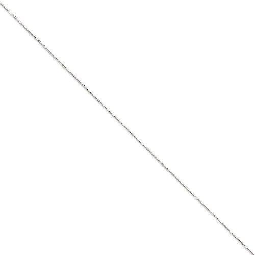 Or blanc 14carats 1mm Boule en + Barre Pendentif chaîne-Options: 25longueur 4146516123