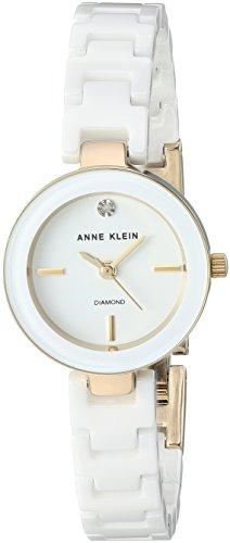 Anne Klein Women's AK/2660WTGB Diamond-Accented Gold-Tone and White Ceramic Bracelet Watch