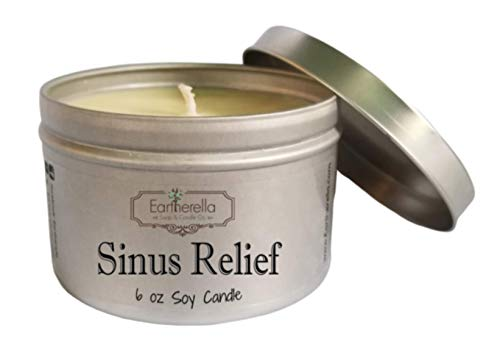 SINUS RELIEF Natural Soy Wax 6 oz. Tin Candle, long 40+ hour burn time