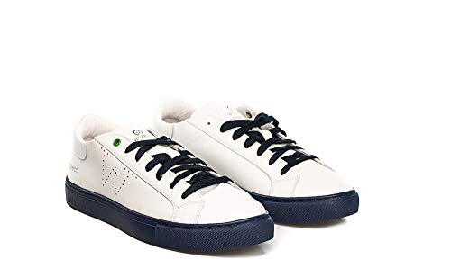 Womsh Italy Sneakers Pelle In Snik 16 Made White Unisex Blue rzrpHcqwE
