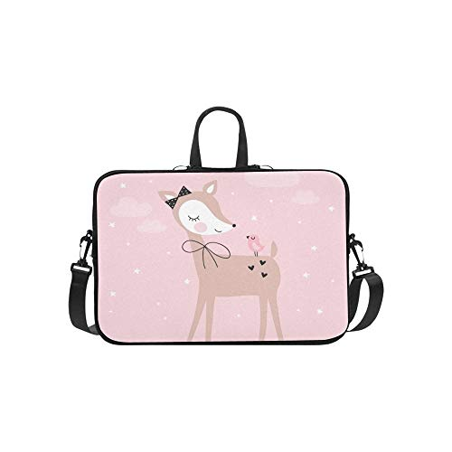 Pretty Deer Bird Briefcase Laptop Bag Messenger Shoulder Work Bag Crossbody Handbag for Business Travelling