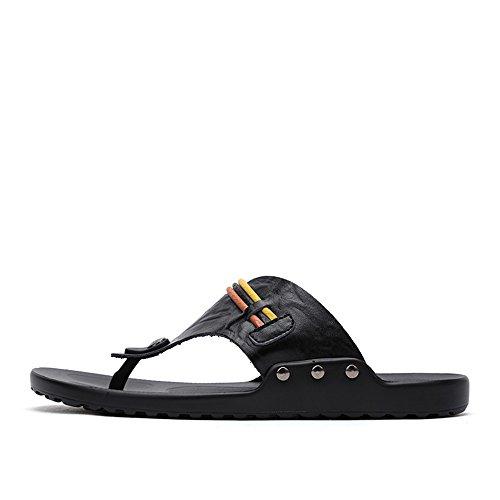 Cuero Banda Antideslizantes los PU de EU Color Chancletas de la Zapatos Sandalias Zapatillas Hombres Sandalias Correa 43 Playa Negro Ancha tamaño BINODA la de de Orange de de xYvZq