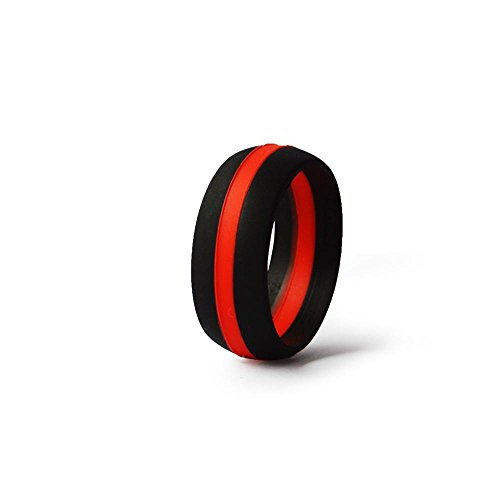 (Thin Red Line Silicone Wedding Ring Band Flexible Hypoallergenic Active Wear for on duty or active life styles FireFighters (11))