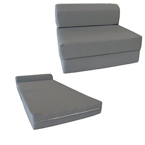 D D Futon Furniture Gray Sleeper Chair Folding Foam Bed 6 x 48 x 72 inches, Studio Guest Beds, Sofa.