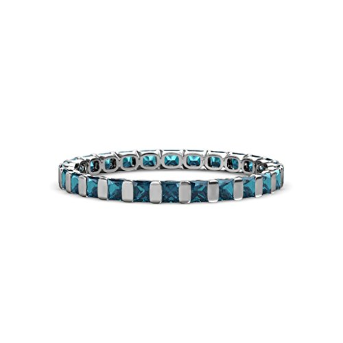 Blue Diamond 2.5mm Common Channel Set Eternity Band 1.80-2.10 Carat tw in 14K White Gold.size 4.5 (Eternity Tw Diamond Band 2ct)
