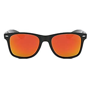 Polarized Classic Sunglasses with Reflective Color Mirror Lens Large Square Sunglasses for Men and Women Unisex (Orange)