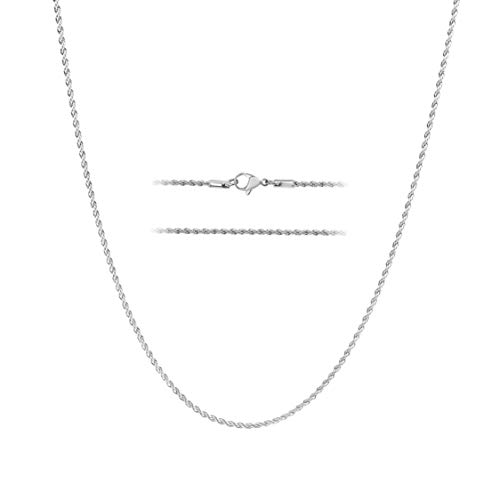 MAJU 24K White Gold Over Stainless Steel Rope Chain Necklace 2mm, 18 Inches