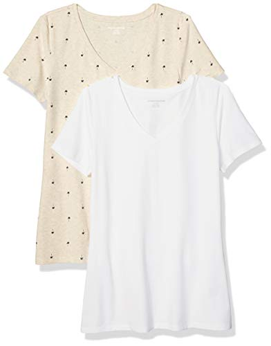 Amazon Essentials Women's 2-Pack Classic-Fit Short-Sleeve V-Neck Patterned T-Shirt, Oatmeal Palm/White, XS