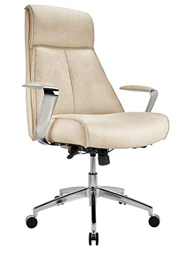 Realspace Modern Comfort Devley Leath-Aire High-Back Chair, Cream/Chrome (Comfort High Back Chair)