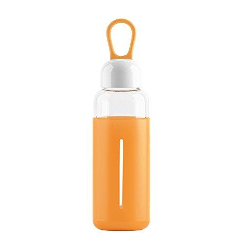 Just Life Trinkflasche Glas Glasflasche Outdoortrinkflasche mit Silikonhülle 420ML Orange
