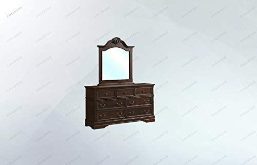 (COLIBROX>>>7 Drawer Dresser Mirror Set Chest Cabinet Smooth and Chic, This Dresser and Mirror Set Offers Subtle Style to Enhance Your Bedroom's Appeal. It Providing Stylish and Practical Functional)