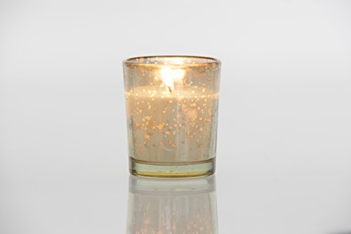 Design Votive Candles - Holiday Designs, Ltd. Gold Mercury Glass Votive w/Candle - Unscented - Pack of 12