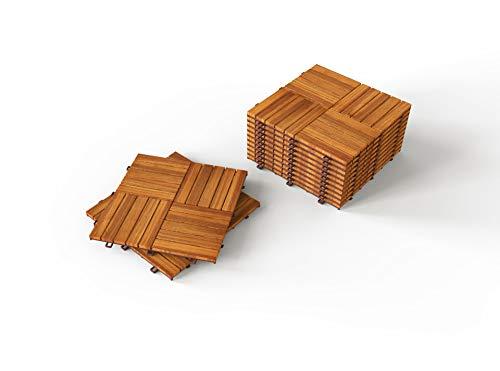 (INTERBUILD Camp 20 - Acacia Hardwood Deck and Patio Interlocking Flooring Tiles - 12
