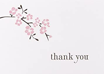 Hortense B Hewitt Wedding Accessories Thank You Note Cards Cherry Blossom Pack Of